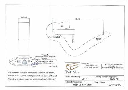 MÁV 48-as rendszerű sínhez rugalmas sínvándorlásgátló kengyel